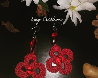 Red Flower earrings-red flower earrings
