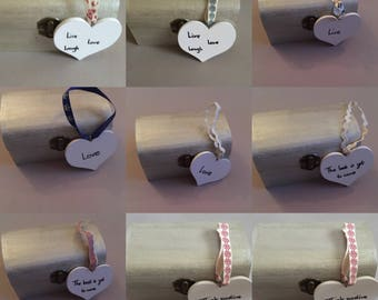 Wooden Hearts, Quotes, Ribbon, Wooden