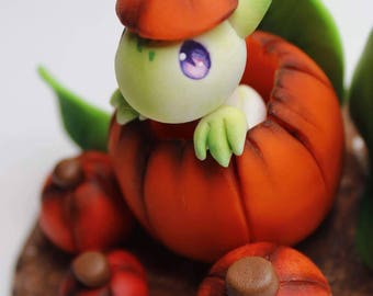 Pumpkin Patch Dragon Figurine