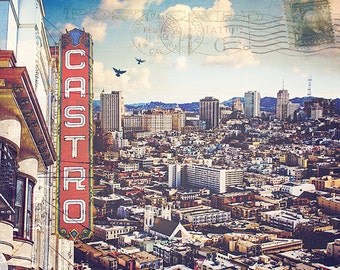 San Francisco Print, Digital Collage, San Francisco Print, Castro Theatre Sign, Urban Art Photo Collage, SF Photo - The City By The Bay