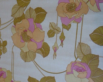 vintage 1970s wall mural wallpaper, large pink and green flowers