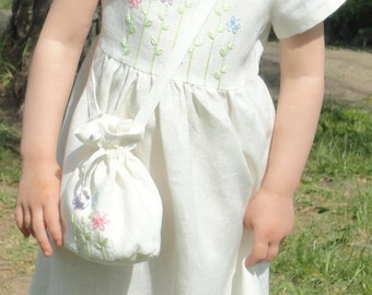 Linen hand embroidered dress for girl