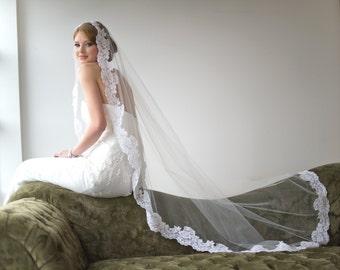Bridal Veil, Traditional Veil,  Mantilla Chapel Length Veil, Wedding Veil, Lace Edge Veil, Wedding Hair Accessory, Long Veil