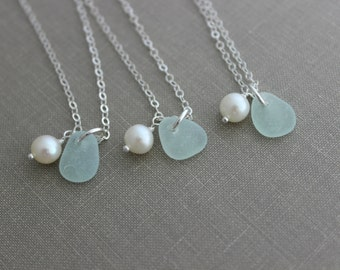 Genuine Sea Glass and pearl bridesmaid Necklaces, Personalized Necklace with SeaGlass, Freshwater Pearl Sterling Silver Bridesmaid Gift