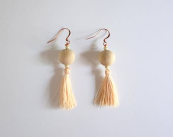 Wooden Tassel Earrings | A P R I C O T