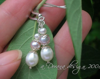 Snow Princess - Peach and White AAA Pearl Sterling Silver Earrings - Handmade by Dorana