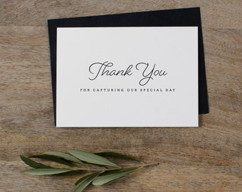 Thank you for Capturing our Wedding - Card for Wedding Photographer - Wedding Card, Wedding Thank You Cards, Wedding Photographer Card, K1