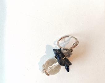 Citrine,  Silver Lapis luzli, Labradorite Flower pendant,