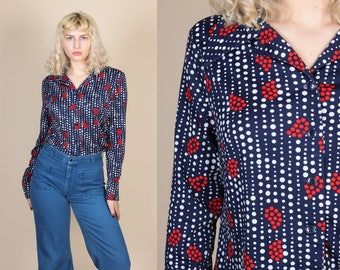 70s Polka Dot Floral Disco Top - XL // Vintage Button Up Collared Long Sleeve Blouse