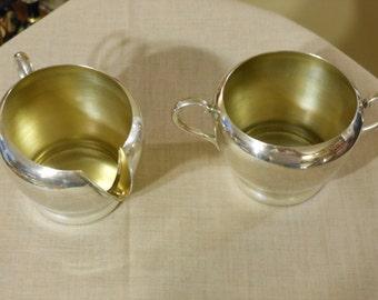 Silver Plate on  Copper Sugar Bowl & Creamer Set