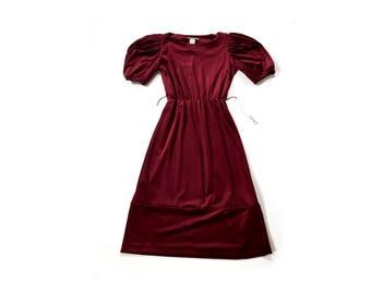 Vintage 70s dress, Velvet Burgundy dress, 1970s midi velvet dress midi, small