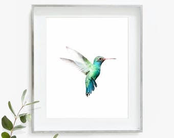 Hummingbird Print, Hummingbird Art, Hummingbird Wall Art, Nursery Art, Watercolor Print, Printable Wall Art Digital Download Tropical Print