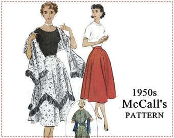 1950s Sewing Pattern - McCall's 9484 - Misses' Skirt, Stole, Wrap, Shawl, Fringed, Fringe - Waist 28 - 1950s Rockabilly Full Skirt, Wrap