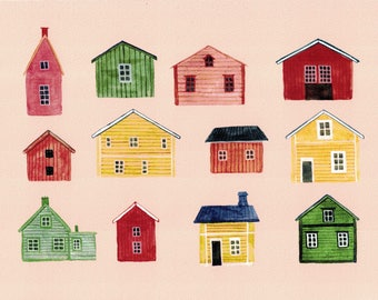 Houses Print, Scandinavian Homes, Watercolour Print, Architecture Print, Home Decor, Home Decor Wall Art, Houses Painting, Nordic House