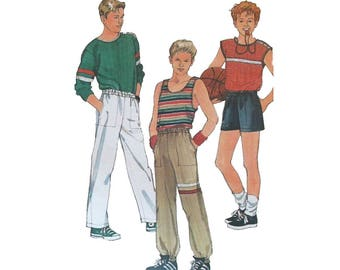 Teen Boys Pullover Shirts, Elastic Waist Shorts or Pants Sewing Pattern Size 14, 16, 18  Uncut Simplicity 6927