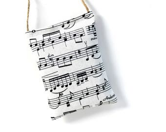 Car Air Freshener Lavender Sachet, Organic Car Accessories for Women, Travel Gifts, Black and White Sheet Music Decor