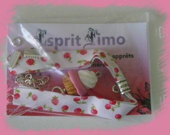 "Creation ""fabric bracelet and strawberry cupcake"" Kit"