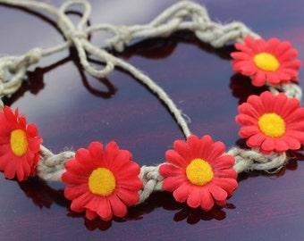 Red Daisy Hemp  Flower Crown