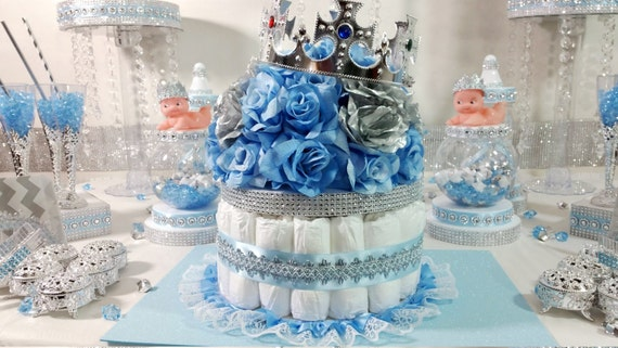 Diaper Cake Boys Centerpiece With Crown For Royal Prince Baby