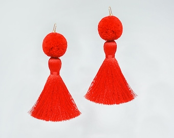 Red Pompom Earrings Red Tassel Earrings Statement Earrings Dangle Earrings Statement Jewelry Boho Earrings Large Earrings/ POMENA