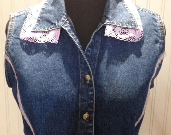 Womens upcycled denim vest embroidered French iris gold fluer de lis vintage lavender lace purple lace trim lilac cotton lace trim