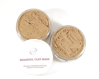 Clay Face Mask Cocoa Powder Facial Mask Moroccan Clay Rhassoul Clay Natural Face Mask Organic Clay Mask Exfoliating Mask Dry Mask