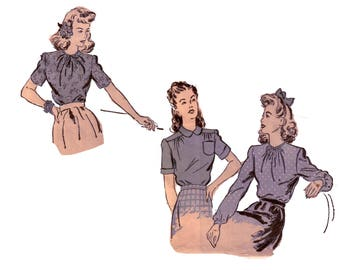 40s Bow Blouse pattern Peter Pan Collar Blouse vintage pattern 30-25-33 XS Fitted Blouse Old Hollywood Blouse Advance 3266