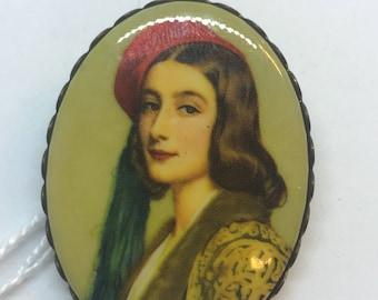 Vintage Brooch, Nobleman, ceramic, painted