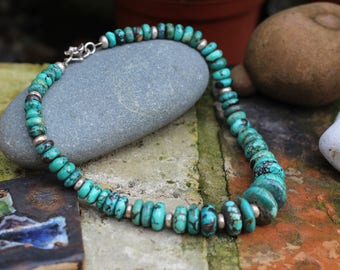 Turquoise AA Grade Necklace, Graduated beads, Flower Clasp Neckalce