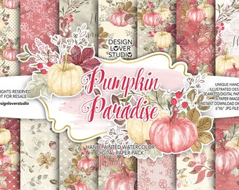 "Watercolor ""Pumpkin Paradise"" digital papers,  Autumn Leaves, Fall, watercolor clip art, hand painted, leaves, watercolor clip art"
