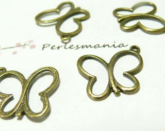 2 pieces pendants ref 43 brelqoue Butterfly bronze