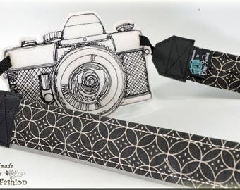 GEOMETRIC - Camera strap, DSLR, black/natural