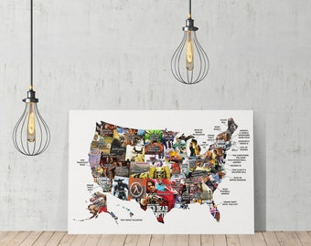 United States Video Games Map by States Decorative Art Canvas Print /Home Decoration/Iconic Wall Art/Gallery Wrapped/Ready to Hang