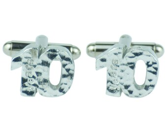 10 Year Anniversary Cuff links - Hammered Rustic Effect Made for the Perfect 10th Anniversary Gift  …