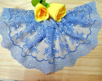 "DN634-6"" Blue  Embroidered  Tulle Mesh Lace/Bridal/Lolita/  Trim by Yard"