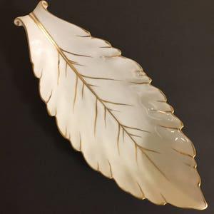 Marvelous Porcelain Leaf Dish Noritake Morimura Brothers White Metallic Gold Trim  1920 1940 Mid Century Modern