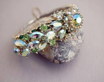 Vintage Rhinestone Bracelet Sparkly Shades of Green Rhinestone Bracelet