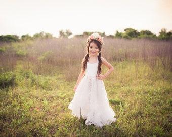 Bohemian Junior Bridesmaid Dress Boho Shabby Chic Rustic White Flower Girl Dress Toddler Girl Tween High Low Ruffle Maxi Dress Arabella
