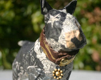 Papier Mache Dog - Black and White Bull Terrier with a collar of Gilded Leather