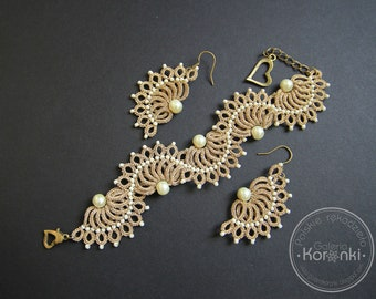 Waves - lace tatted bracelet and earrings, metallic thread