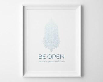 Affiche de yoga, être ouvert imprimé inspiration, bleu Ombre Yoga Studio Decor, Yoga art, affiche minimaliste