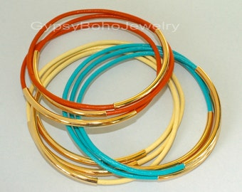 1 Gold Tube Leather BANGLE Bracelets -  Custom Pick Color Leather / Size - Lead Free Leather of 24 Colors - Made In Usa  001
