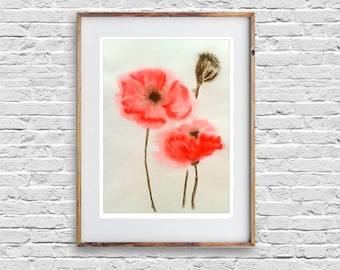 Red Poppies Original watercolour painting Art Modern Style Housewarming Gift for Her Home Decor Wall Art Floral Painting Red Flower Poppy