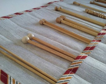 Linen Knitting Needle Case with Bright Gold and Red Striped Trim - Gift for Knitter