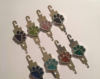 Needle Minder Needle Threader Design with coloured Paw Prints, Needle Keep Emporium