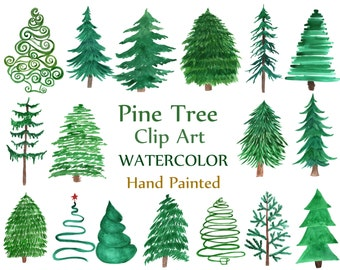 """Watercolor Pine Trees Clipart: """"CHRISTMAS TREE CLIPART"""" Conifers Trees clip art Evergreen Trees Invitation clipart Hand Painted Diy invite"""