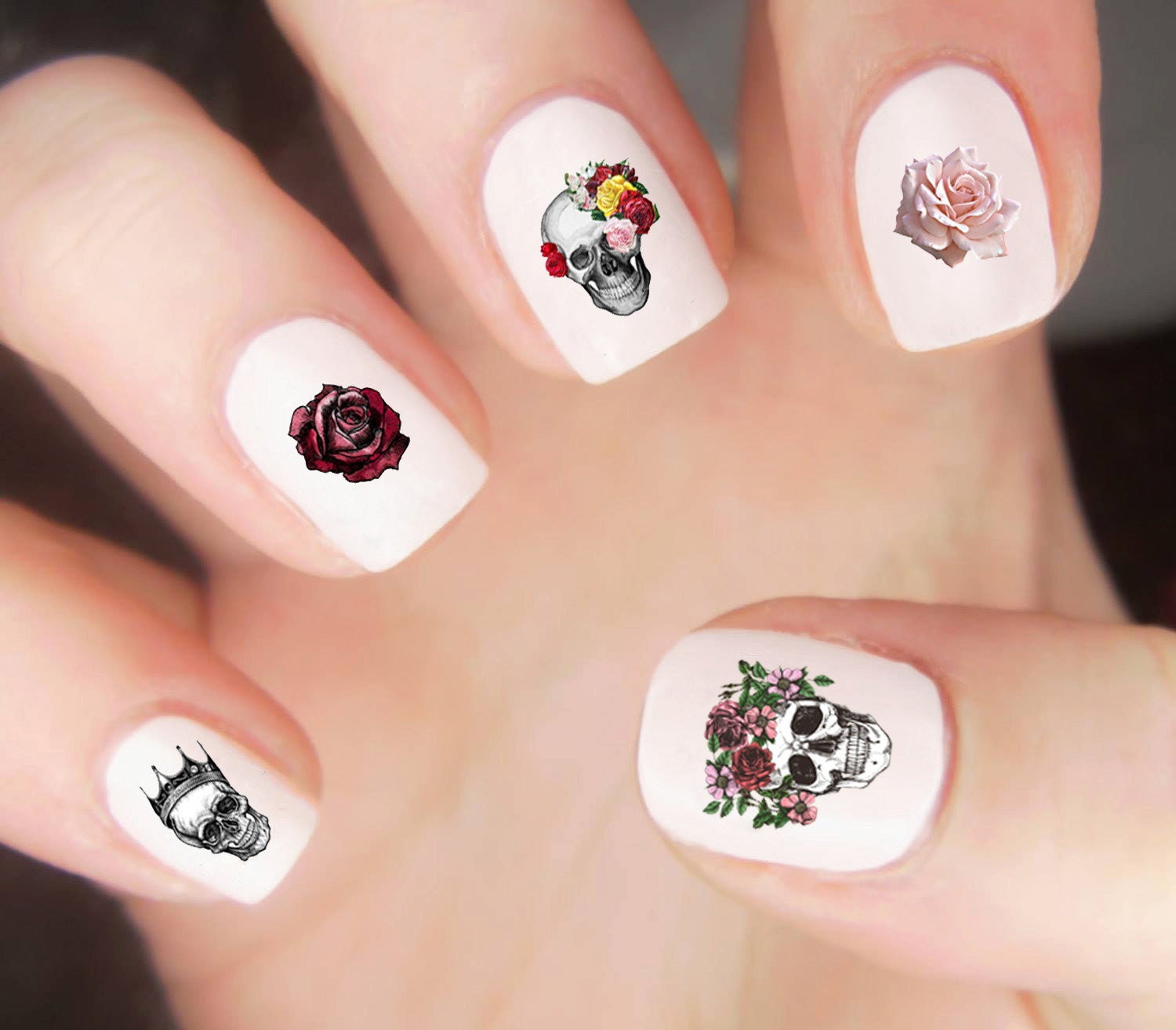 Skull Nail Decals / Flower Nail Decals / Crystal Nail Decals / Dia ...