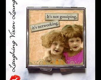 "Best Friends Compact Mirror - Pill Box - Sisters - Sassy Vintage Ladies ""Gossiping"" - Retro Humor - Retro Women - Pill Case - Pillbox"