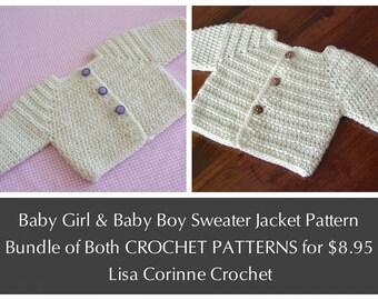 CROCHET PATTERNS bundle, Baby Boy Sweater Jacket, Baby Girl Sweater Jacket,  Baby Sweater Pattern Sale