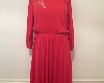 Vintage 1970s red dress with sparkle motif